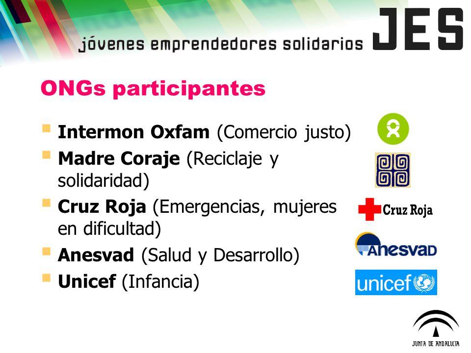 ONGs participantes Intermon Oxfam (Comercio justo) Madre Coraje (Reciclaje y solidaridad) Cruz Roja (Emergencias, mujeres en dificultad) Anesvad (Salu