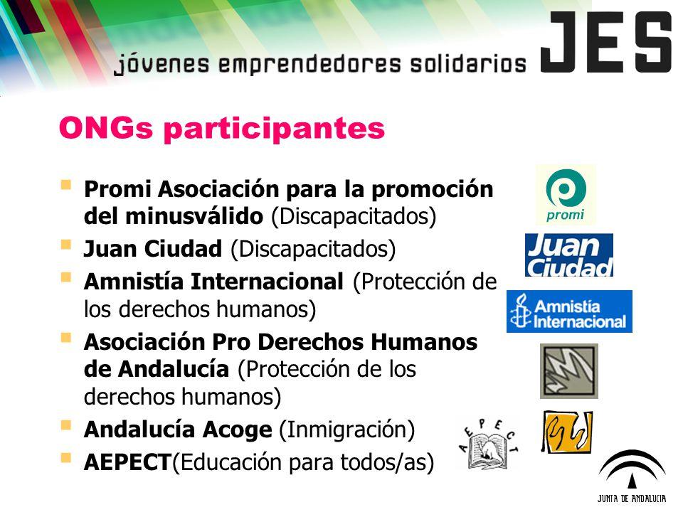 ONGs participantes Promi Asociación para la promoción del minusválido (Discapacitados) Juan Ciudad (Discapacitados) Amnistía Internacional (Protección