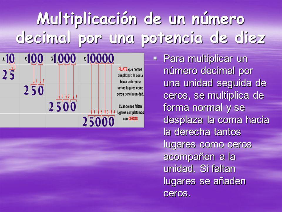 Para multiplicar un número decimal por otro número decimal, se debe multiplicar cada una de las cifras y sumar en caso necesario.