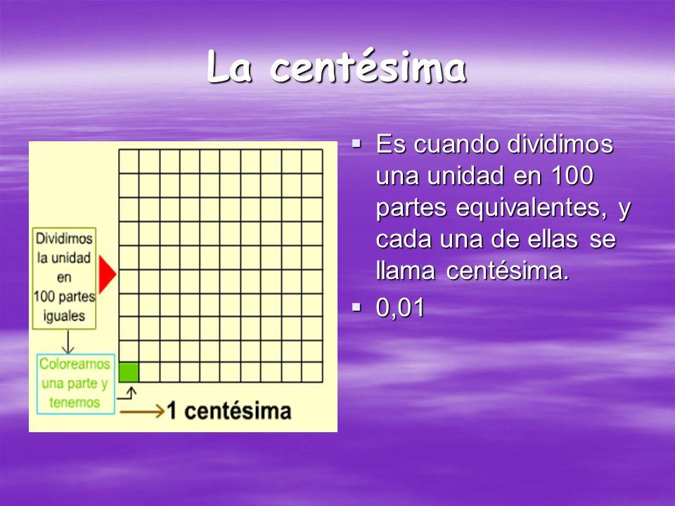 La Décima Es cuando dividimos una unidad en 10 partes equivalentes, cada una de ellas es una décima.