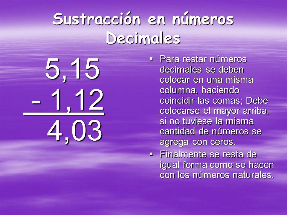 Adición en números decimales 3,7 + 5,84 9,54 3,7 + 5,84 9,54 Para sumar dos o mas números decimales se deben colocar en una columna y deben coincidir las comas en una misma fila, después de eso se suma como una adición normal, con la excepción que se sigue respetando el lugar de las comas.