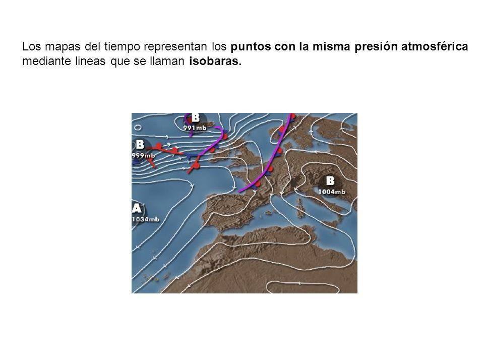 Los mapas del tiempo representan los puntos con la misma presión atmosférica mediante lineas que se llaman isobaras.