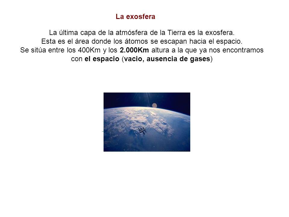 La exosfera La última capa de la atmósfera de la Tierra es la exosfera. Esta es el área donde los átomos se escapan hacia el espacio. Se sitúa entre l