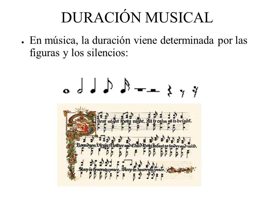 DURACIÓN MUSICAL En música, la duración viene determinada por las figuras y los silencios: