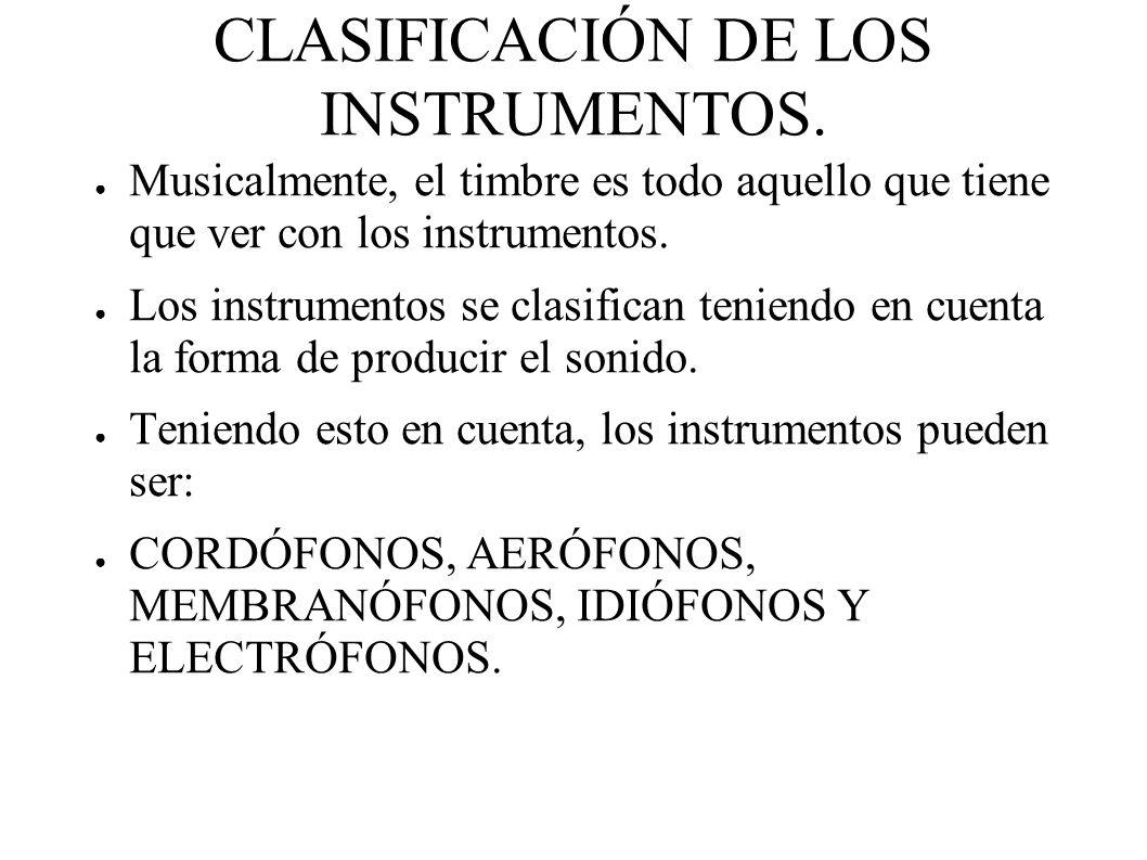 CLASIFICACIÓN DE LOS INSTRUMENTOS.