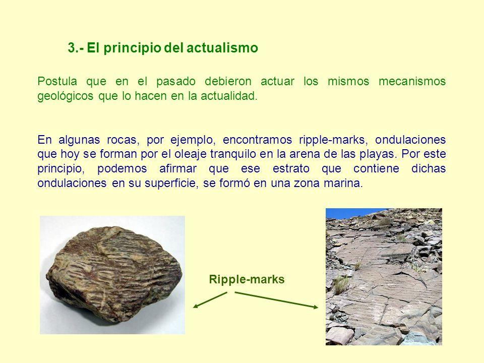 3.- El principio del actualismo Postula que en el pasado debieron actuar los mismos mecanismos geológicos que lo hacen en la actualidad. En algunas ro