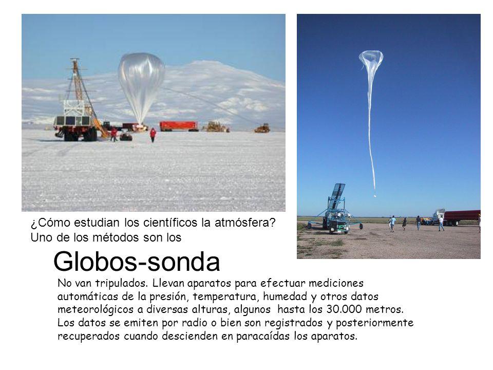 Globos-sonda No van tripulados. Llevan aparatos para efectuar mediciones automáticas de la presión, temperatura, humedad y otros datos meteorológicos