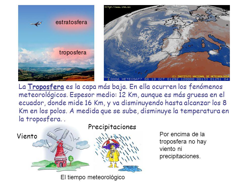 La Troposfera es la capa más baja. En ella ocurren los fenómenos meteorológicos. Espesor medio: 12 Km, aunque es más gruesa en el ecuador, donde mide