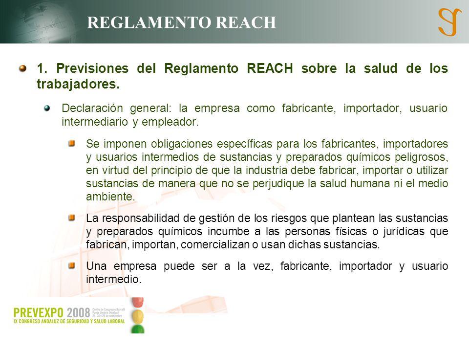 REGLAMENTO REACH 1. Previsiones del Reglamento REACH sobre la salud de los trabajadores. Declaración general: la empresa como fabricante, importador,