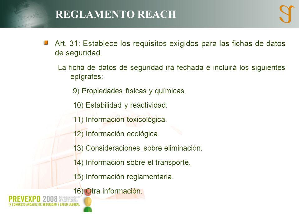 REGLAMENTO REACH Art. 31: Establece los requisitos exigidos para las fichas de datos de seguridad. La ficha de datos de seguridad irá fechada e inclui