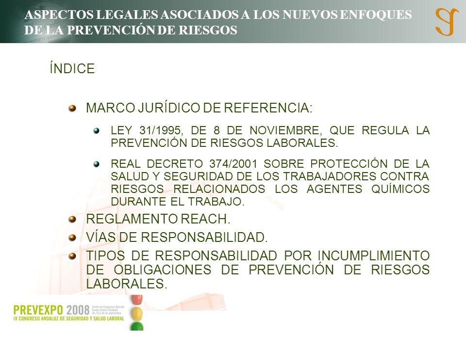 ASPECTOS LEGALES ASOCIADOS A LOS NUEVOS ENFOQUES DE LA PREVENCIÓN DE RIESGOS MARCO JURÍDICO DE REFERENCIA: LEY 31/1995, DE 8 DE NOVIEMBRE, QUE REGULA