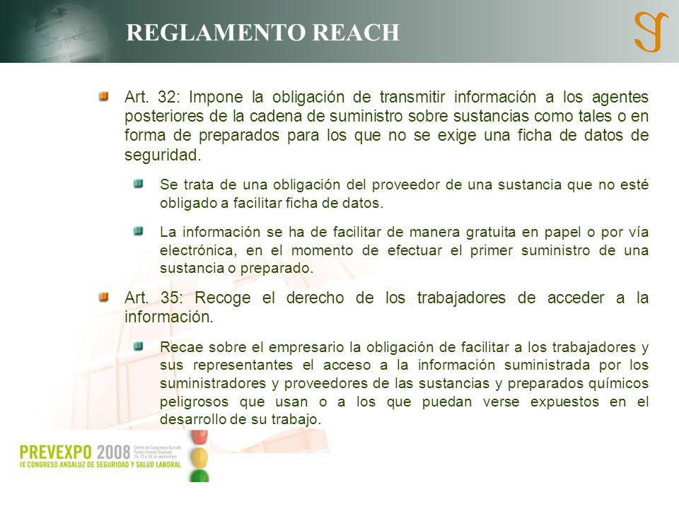 REGLAMENTO REACH Art. 32: Impone la obligación de transmitir información a los agentes posteriores de la cadena de suministro sobre sustancias como ta