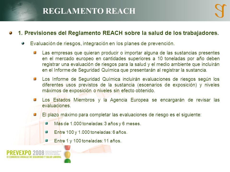 REGLAMENTO REACH 1. Previsiones del Reglamento REACH sobre la salud de los trabajadores. Evaluación de riesgos, integración en los planes de prevenció