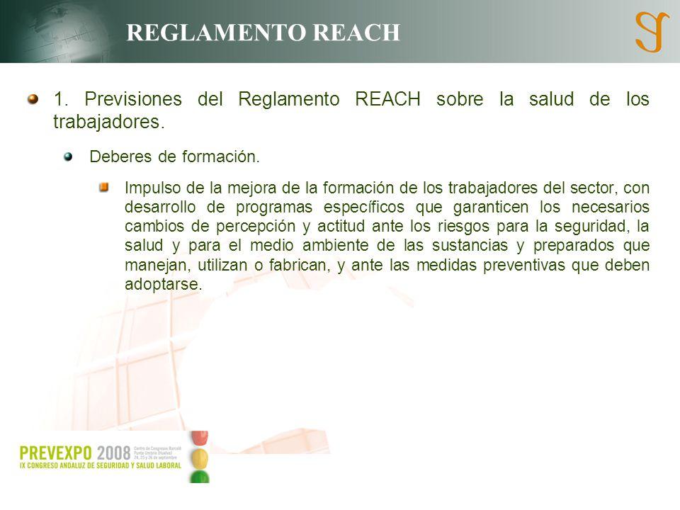 REGLAMENTO REACH 1. Previsiones del Reglamento REACH sobre la salud de los trabajadores. Deberes de formación. Impulso de la mejora de la formación de