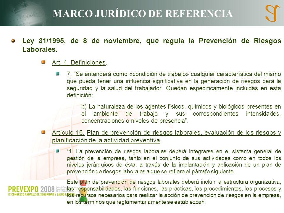 MARCO JURÍDICO DE REFERENCIA Ley 31/1995, de 8 de noviembre, que regula la Prevención de Riesgos Laborales. Art. 4. Definiciones. 7: Se entenderá como