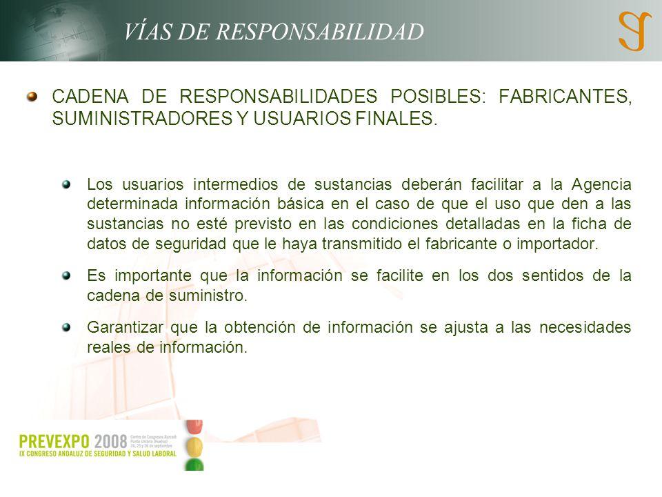 VÍAS DE RESPONSABILIDAD CADENA DE RESPONSABILIDADES POSIBLES: FABRICANTES, SUMINISTRADORES Y USUARIOS FINALES. Los usuarios intermedios de sustancias