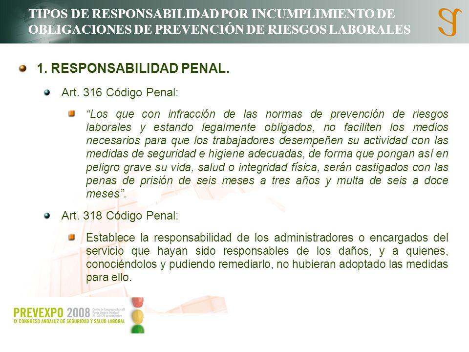 TIPOS DE RESPONSABILIDAD POR INCUMPLIMIENTO DE OBLIGACIONES DE PREVENCIÓN DE RIESGOS LABORALES 1. RESPONSABILIDAD PENAL. Art. 316 Código Penal: Los qu