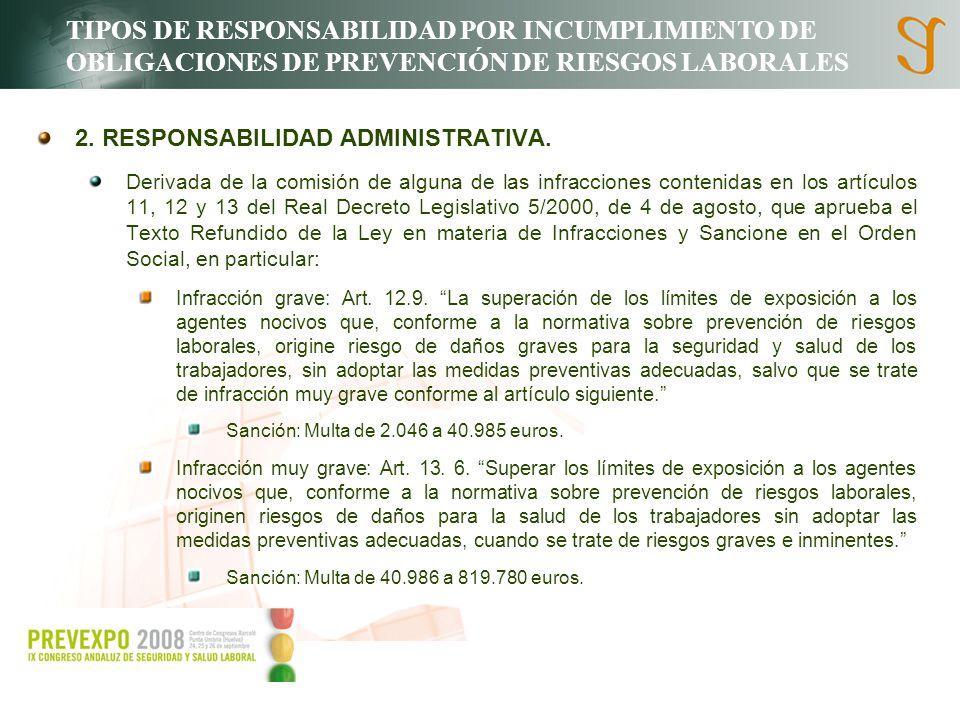 TIPOS DE RESPONSABILIDAD POR INCUMPLIMIENTO DE OBLIGACIONES DE PREVENCIÓN DE RIESGOS LABORALES 2. RESPONSABILIDAD ADMINISTRATIVA. Derivada de la comis