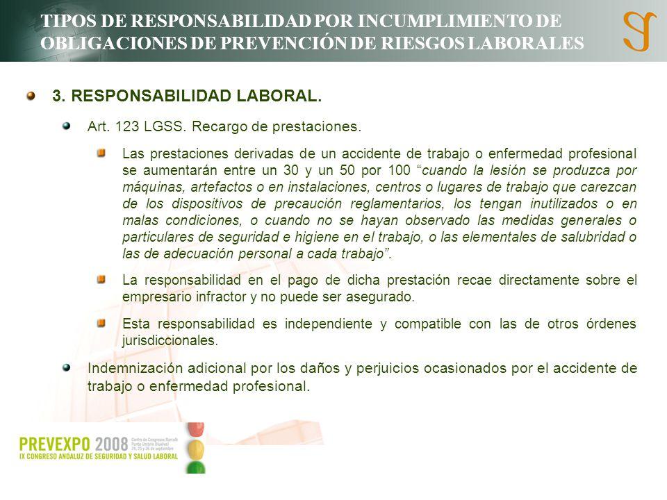 TIPOS DE RESPONSABILIDAD POR INCUMPLIMIENTO DE OBLIGACIONES DE PREVENCIÓN DE RIESGOS LABORALES 3. RESPONSABILIDAD LABORAL. Art. 123 LGSS. Recargo de p