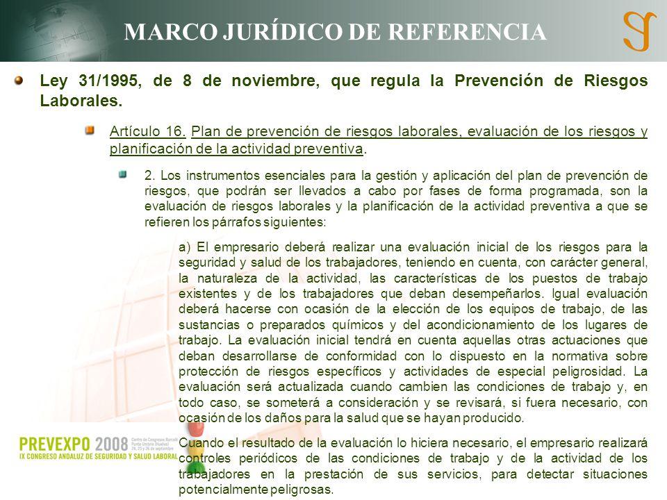 MARCO JURÍDICO DE REFERENCIA Ley 31/1995, de 8 de noviembre, que regula la Prevención de Riesgos Laborales. Artículo 16. Plan de prevención de riesgos