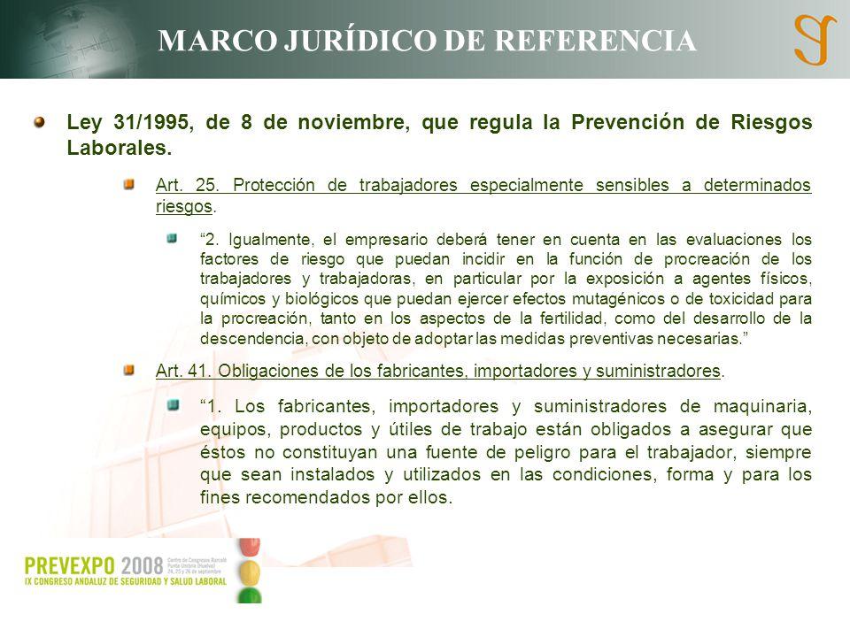 MARCO JURÍDICO DE REFERENCIA Ley 31/1995, de 8 de noviembre, que regula la Prevención de Riesgos Laborales. Art. 25. Protección de trabajadores especi