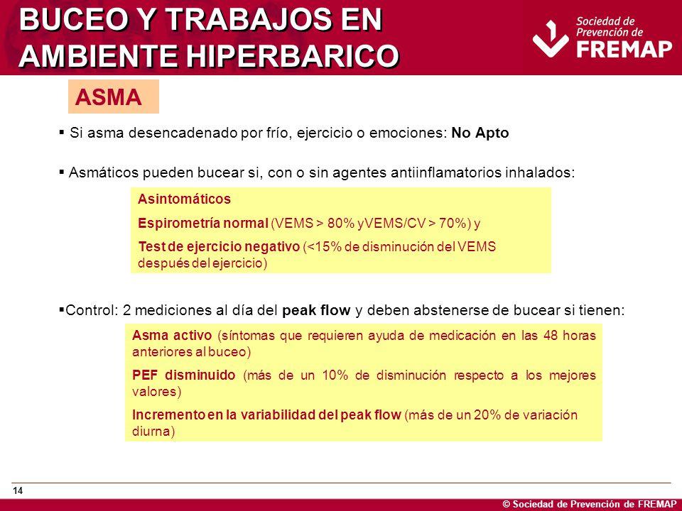 © Sociedad de Prevención de FREMAP 14 BUCEO Y TRABAJOS EN AMBIENTE HIPERBARICO ASMA Si asma desencadenado por frío, ejercicio o emociones: No Apto Asm