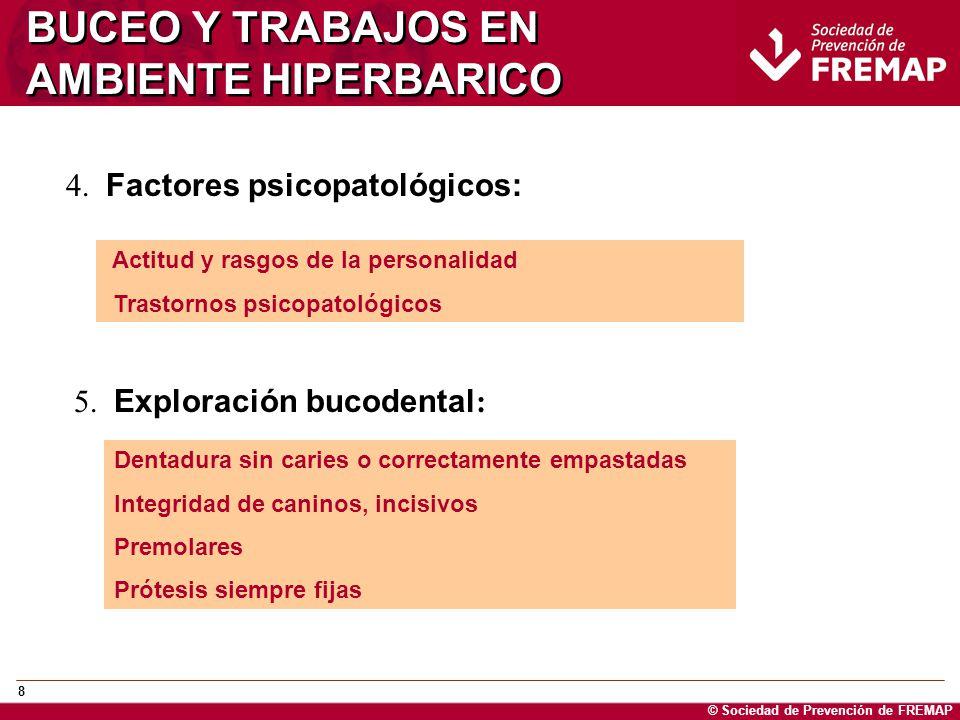 © Sociedad de Prevención de FREMAP 29 BUCEO Y TRABAJOS EN AMBIENTE HIPERBARICO ORL: Pérdidas de audición >50 dB en las frecuencias agudas de 6.000 y 8.000 hzrs en ES periódicos: NO APTO DEFINITIVO Reparación de rotura de la ventana redonda o fístula perilinfática (ORL) MUSCULOESQUELETICAS: Artropatías agudas Hernias hasta su corrección quirúrgica Traumatismo craneal si normaldespués de 3 meses: Pérdida de conocimiento < 30 minutos sin focalidad, con amnesia post traumática <1 hora y fracturas lineales menores si se dan los criterios previos Necrosis ósea no significa un no apto, depende de: Lesión está en la diafisis (lesión tipo B) o yuxtaarticular, tipo de trabajo, necesidad de evitar la carga en la articulación afectada