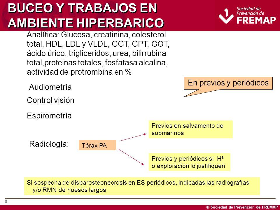 © Sociedad de Prevención de FREMAP 9 BUCEO Y TRABAJOS EN AMBIENTE HIPERBARICO Analítica: Glucosa, creatinina, colesterol total, HDL, LDL y VLDL, GGT,