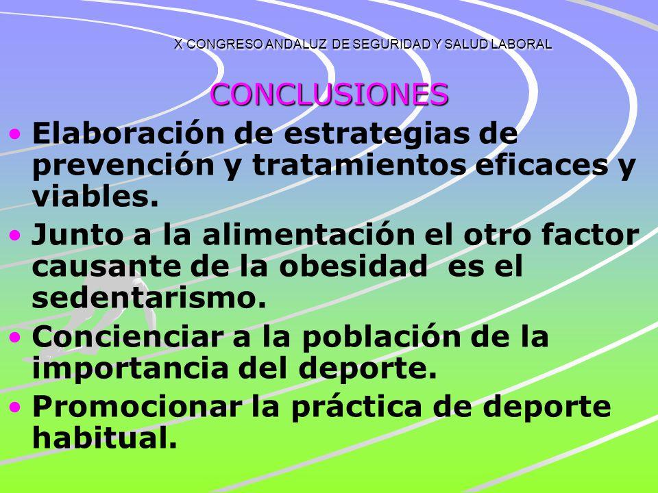 X CONGRESO ANDALUZ DE SEGURIDAD Y SALUD LABORAL CONCLUSIONES CIFRAS SIMILARES A LAS DE LA POBLACIÓN GENERAL. AFECTA MAS A LOS HOMBRES QUE A LAS MUJERE