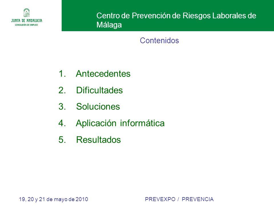 Centro de Prevención de Riesgos Laborales de Málaga 19, 20 y 21 de mayo de 2010 PREVEXPO / PREVENCIA Contenidos 1.