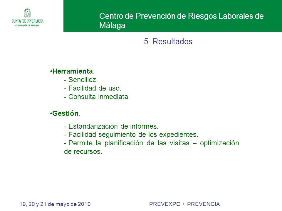 Centro de Prevención de Riesgos Laborales de Málaga 19, 20 y 21 de mayo de 2010 PREVEXPO / PREVENCIA 5.