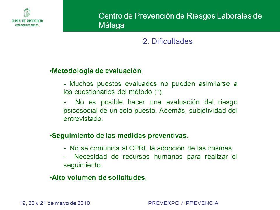 Centro de Prevención de Riesgos Laborales de Málaga 19, 20 y 21 de mayo de 2010 PREVEXPO / PREVENCIA 2.