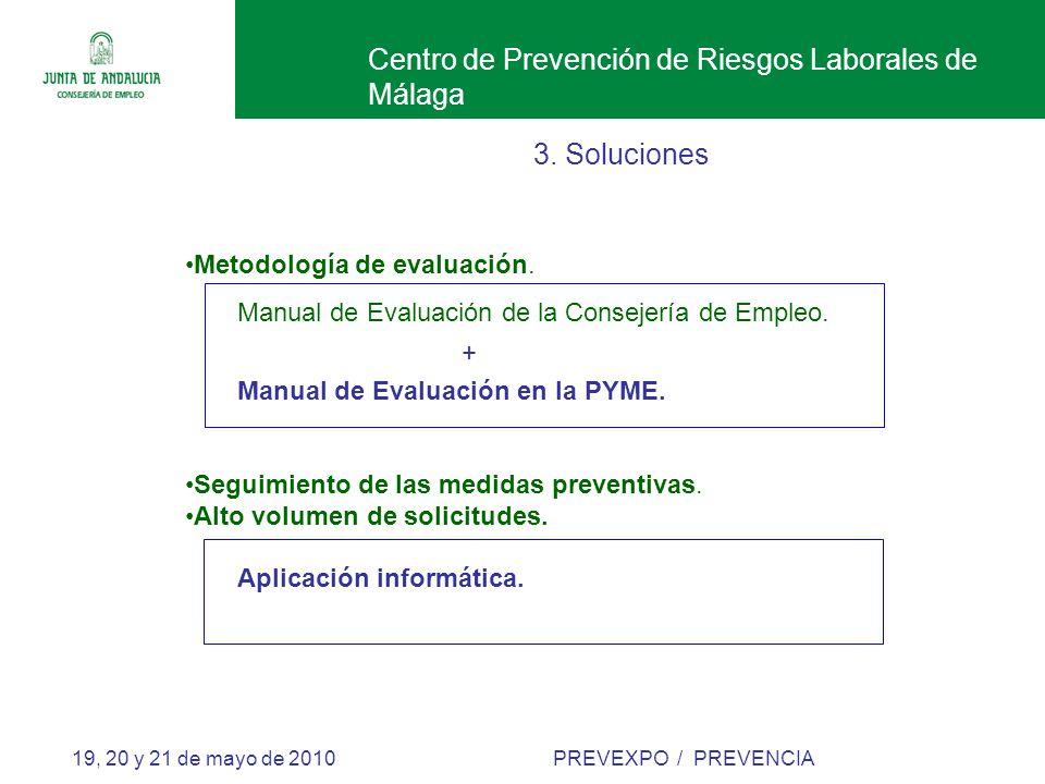 Centro de Prevención de Riesgos Laborales de Málaga 19, 20 y 21 de mayo de 2010 PREVEXPO / PREVENCIA 3.