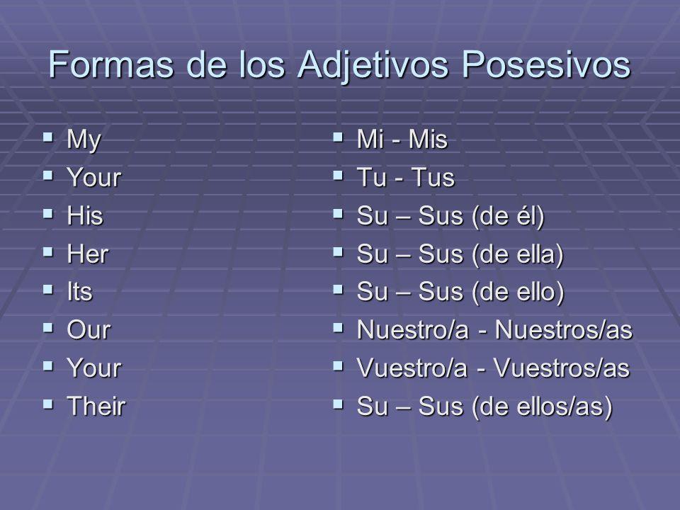 Formas de los Adjetivos Posesivos My My Your Your His His Her Her Its Its Our Our Your Your Their Their Mi - Mis Mi - Mis Tu - Tus Tu - Tus Su – Sus (de él) Su – Sus (de él) Su – Sus (de ella) Su – Sus (de ella) Su – Sus (de ello) Su – Sus (de ello) Nuestro/a - Nuestros/as Nuestro/a - Nuestros/as Vuestro/a - Vuestros/as Vuestro/a - Vuestros/as Su – Sus (de ellos/as) Su – Sus (de ellos/as)