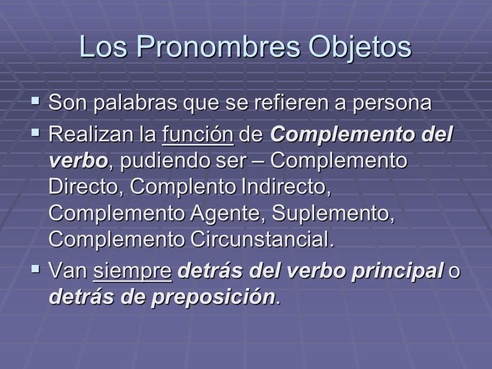 Los Pronombres Objetos Son palabras que se refieren a persona Son palabras que se refieren a persona Realizan la función de Complemento del verbo, pudiendo ser – Complemento Directo, Complento Indirecto, Complemento Agente, Suplemento, Complemento Circunstancial.