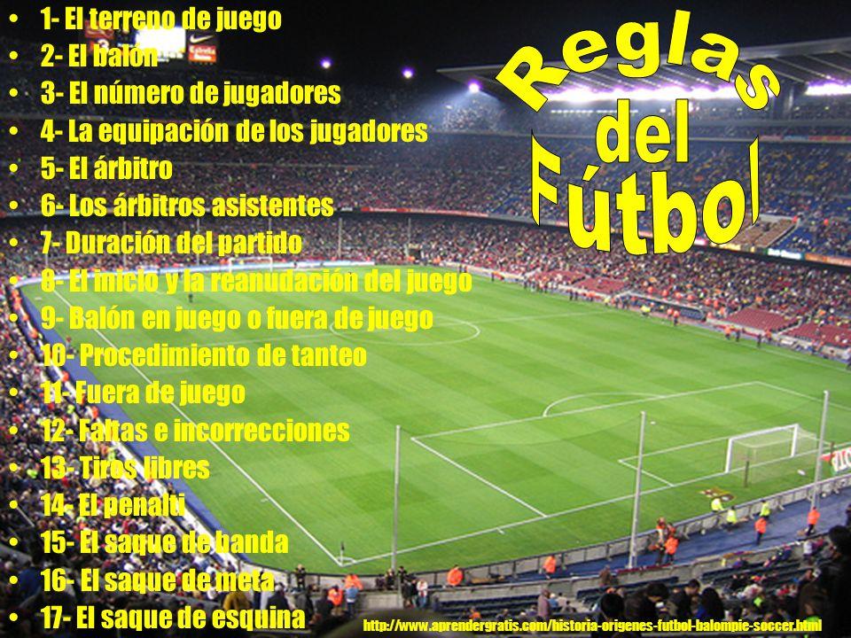 1- El terreno de juego 2- El balón 3- El número de jugadores 4- La equipación de los jugadores 5- El árbitro 6- Los árbitros asistentes 7- Duración de