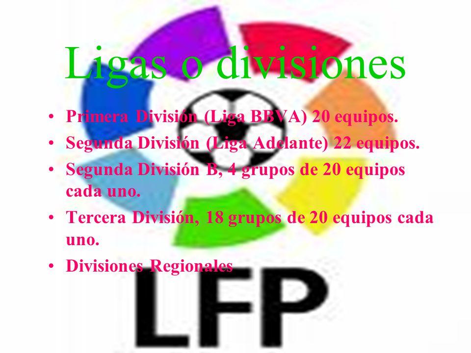Ligas o divisiones Primera División (Liga BBVA) 20 equipos. Segunda División (Liga Adelante) 22 equipos. Segunda División B, 4 grupos de 20 equipos ca