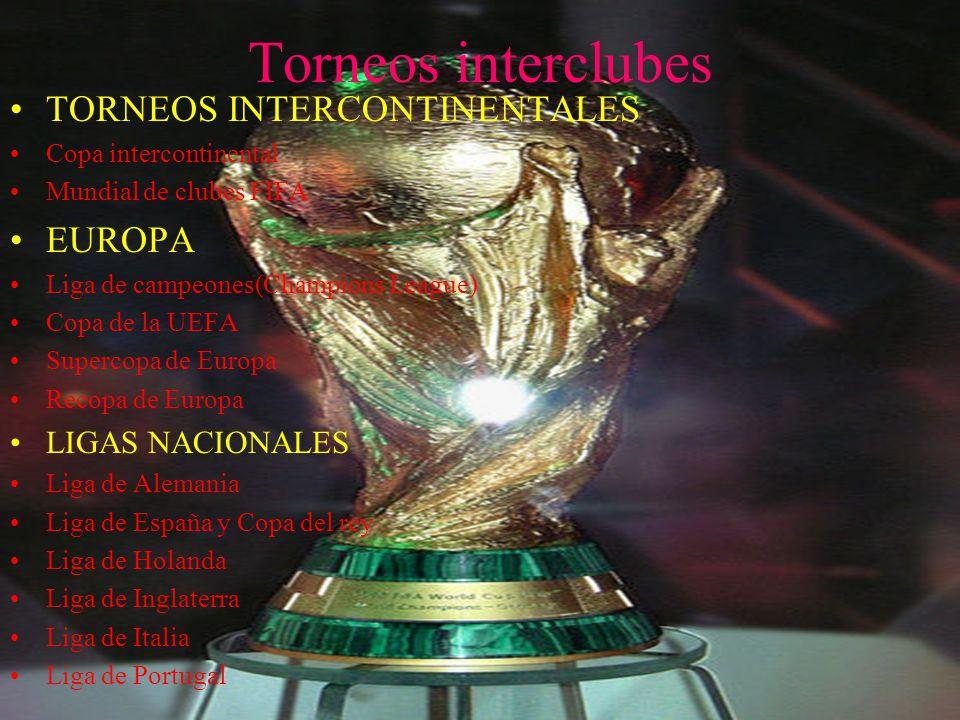 Torneos interclubes TORNEOS INTERCONTINENTALES Copa intercontinental Mundial de clubes FIFA EUROPA Liga de campeones(Champions League) Copa de la UEFA