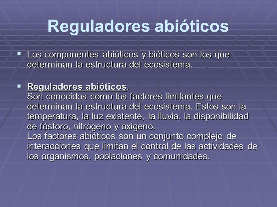 Reguladores abióticos Los componentes abióticos y bióticos son los que determinan la estructura del ecosistema. Los componentes abióticos y bióticos s