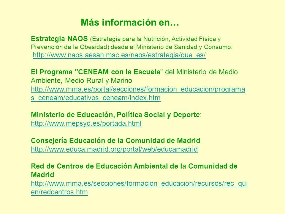 Más información en… Estrategia NAOS (Estrategia para la Nutrición, Actividad Física y Prevención de la Obesidad) desde el Ministerio de Sanidad y Cons