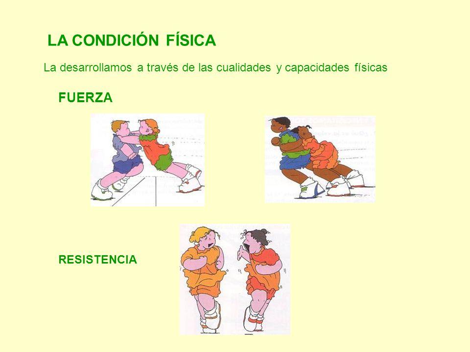 La desarrollamos a través de las cualidades y capacidades físicas LA CONDICIÓN FÍSICA FUERZA RESISTENCIA