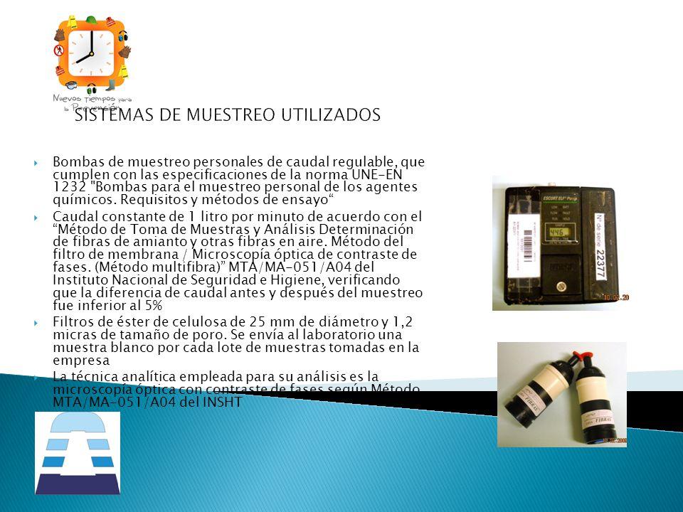 SISTEMAS DE MUESTREO UTILIZADOS Bombas de muestreo personales de caudal regulable, que cumplen con las especificaciones de la norma UNE-EN 1232