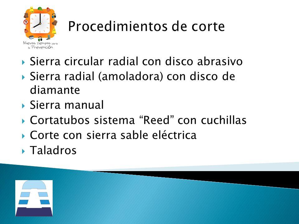 Sierra circular radial con disco abrasivo Sierra radial (amoladora) con disco de diamante Sierra manual Cortatubos sistema Reed con cuchillas Corte co