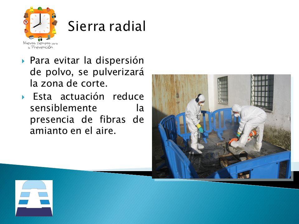Sierra radial Para evitar la dispersión de polvo, se pulverizará la zona de corte. Esta actuación reduce sensiblemente la presencia de fibras de amian