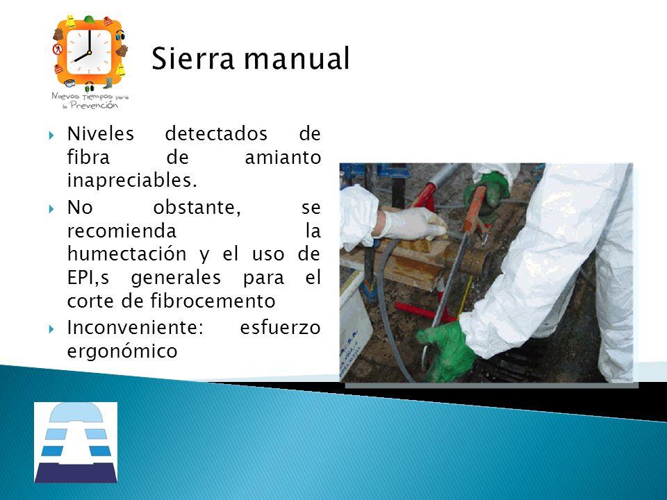 Sierra manual Niveles detectados de fibra de amianto inapreciables. No obstante, se recomienda la humectación y el uso de EPI,s generales para el cort