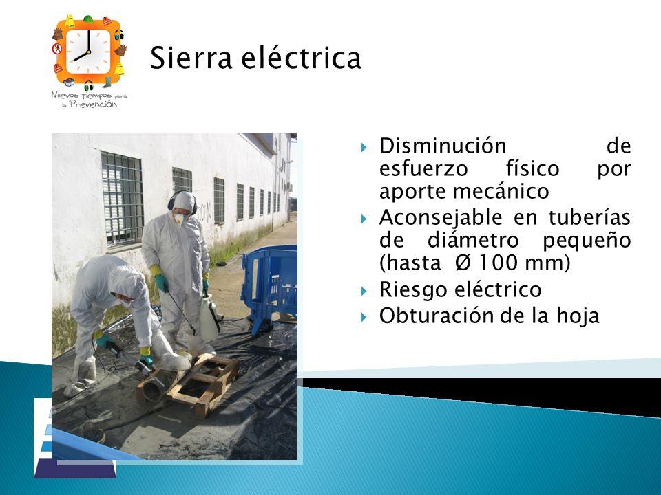 Sierra eléctrica Disminución de esfuerzo físico por aporte mecánico Aconsejable en tuberías de diámetro pequeño (hasta Ø 100 mm) Riesgo eléctrico Obtu