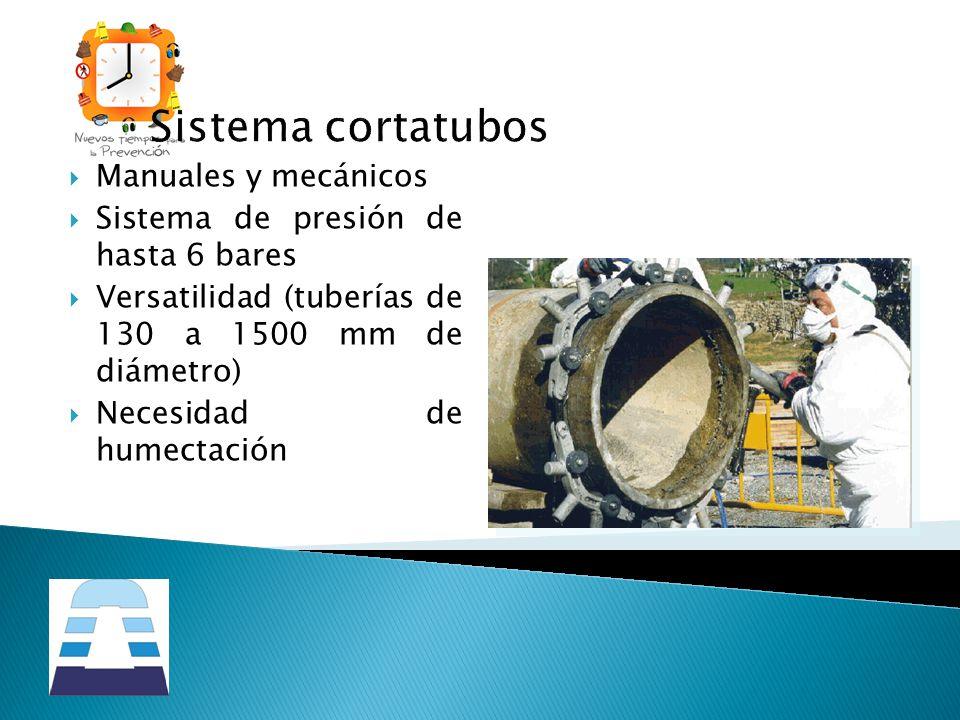 Sistema cortatubos Manuales y mecánicos Sistema de presión de hasta 6 bares Versatilidad (tuberías de 130 a 1500 mm de diámetro) Necesidad de humectac