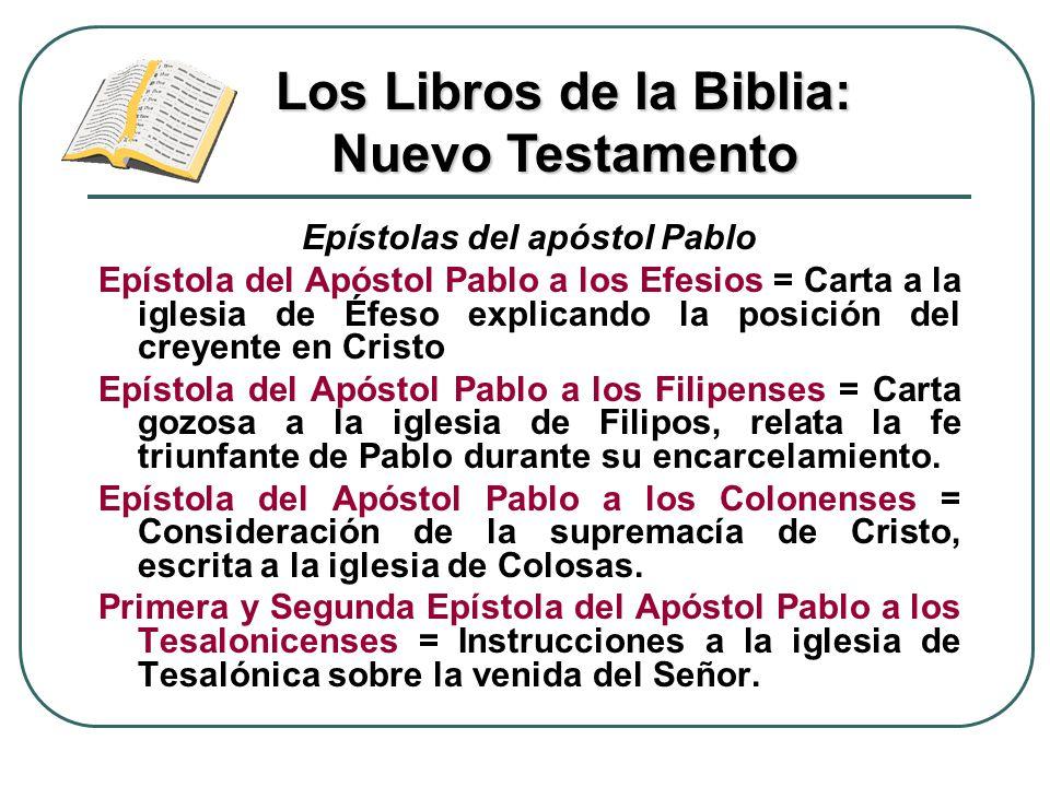 Epístolas del apóstol Pablo Epístola del Apóstol Pablo a los Efesios = Carta a la iglesia de Éfeso explicando la posición del creyente en Cristo Epíst