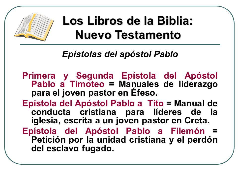 Epístolas del apóstol Pablo Primera y Segunda Epístola del Apóstol Pablo a Timoteo = Manuales de liderazgo para el joven pastor en Éfeso. Epístola del