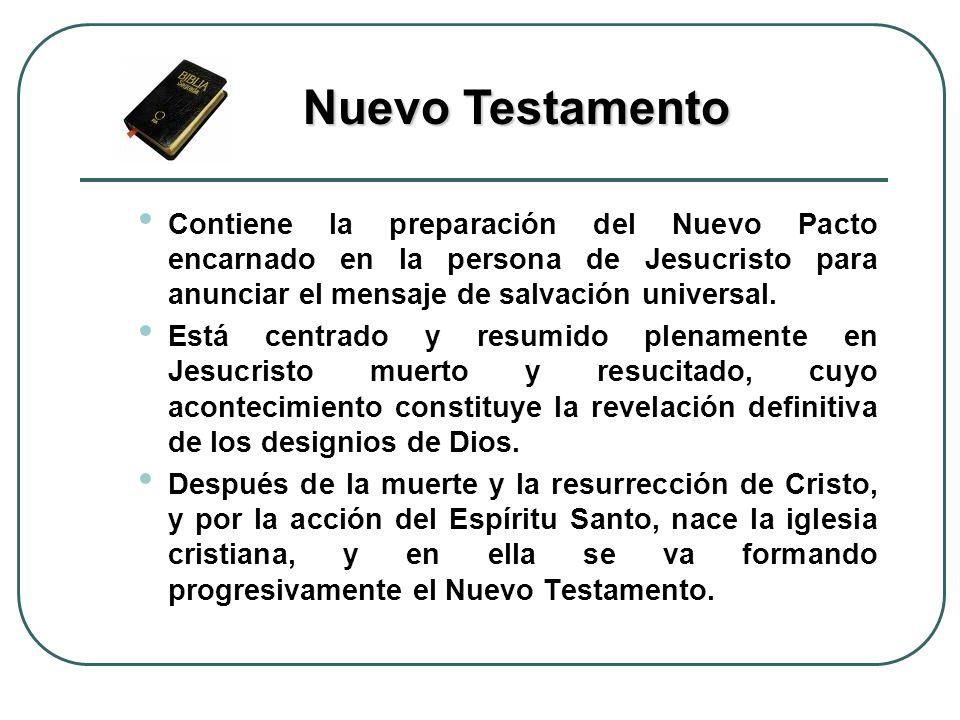 Contiene la preparación del Nuevo Pacto encarnado en la persona de Jesucristo para anunciar el mensaje de salvación universal. Está centrado y resumid